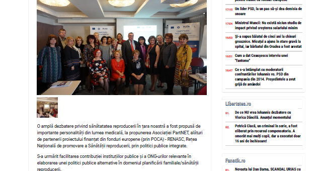 Antena 3 – Platformă online pentru promovarea sănătății reproducerii și pentru informarea în școli prin RENASC